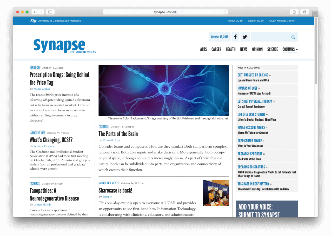 Synapse homepage layout