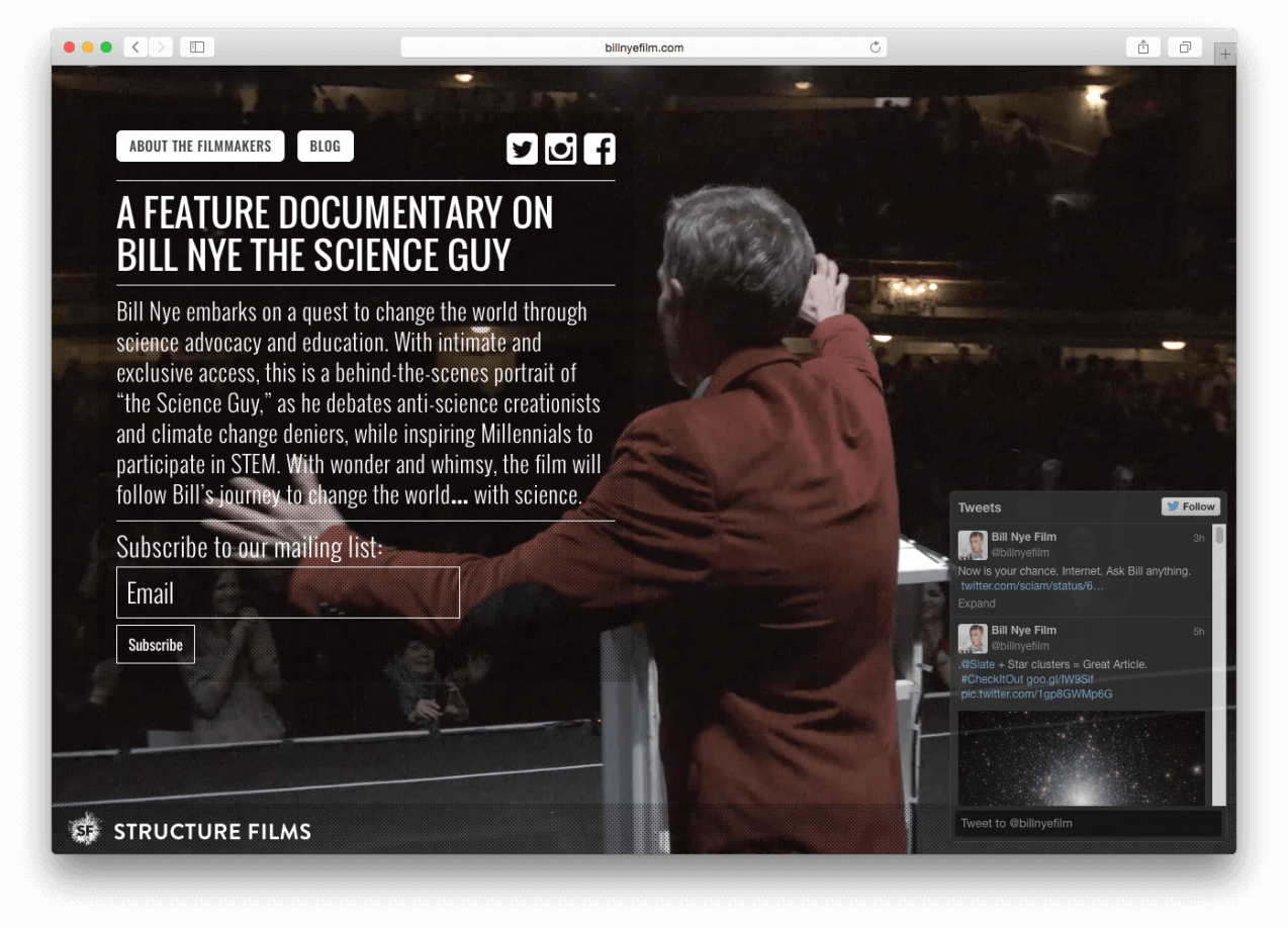Bill Nye Film homepage