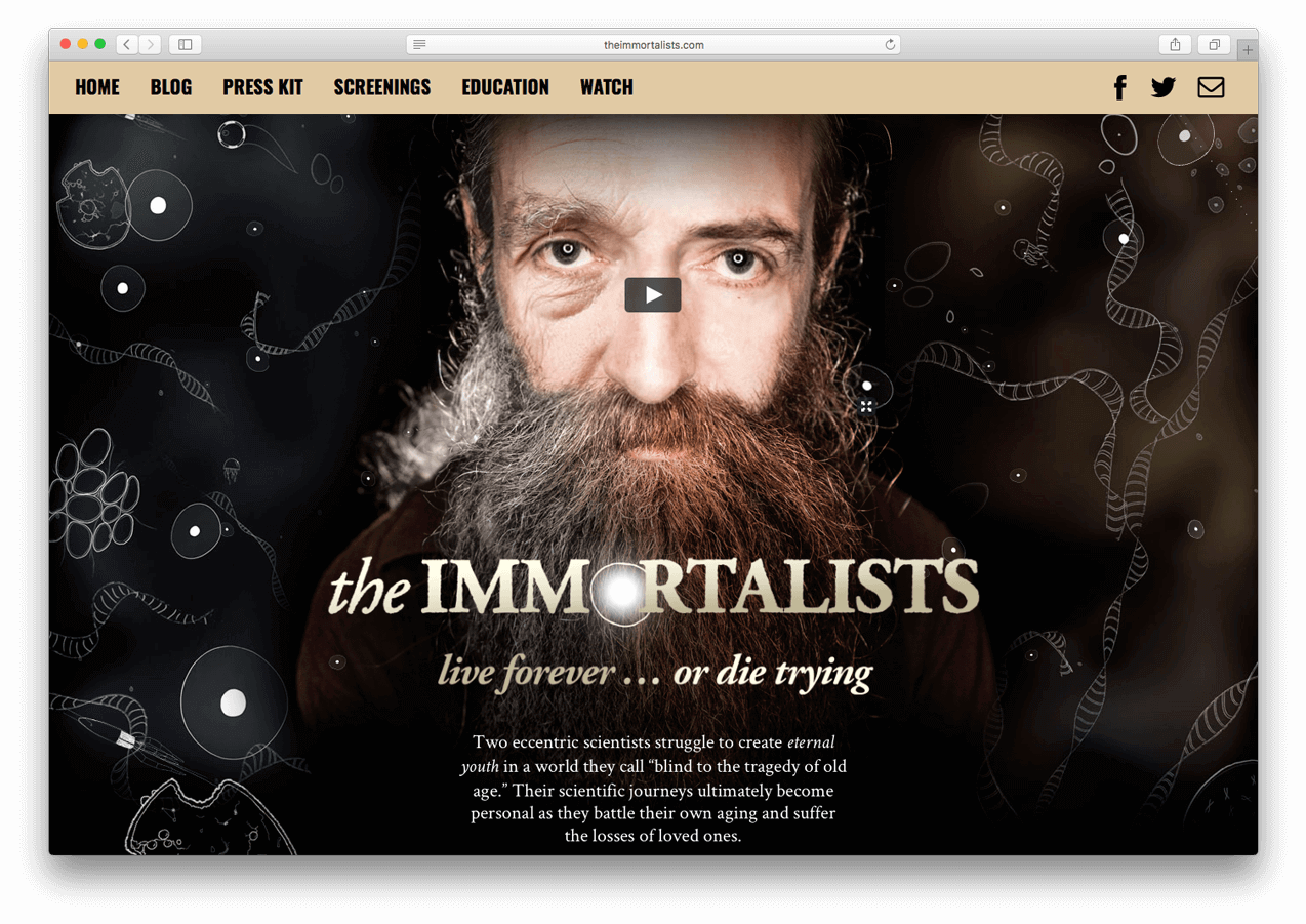 Screenshot from theimmortalists.com