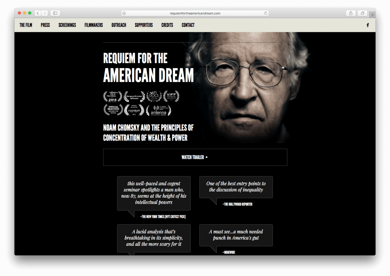 Homepage from requiemfortheamericandream.com