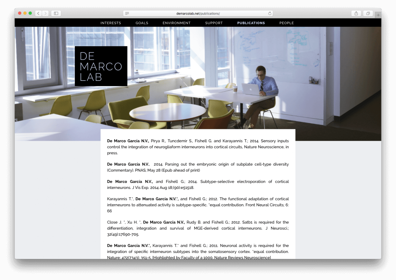 Screenshot from demarcolab.net